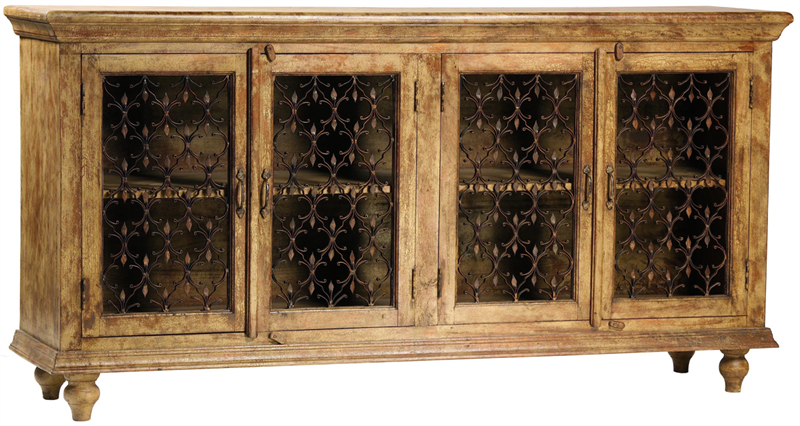 Santa fe wood and wrought iron sideboard