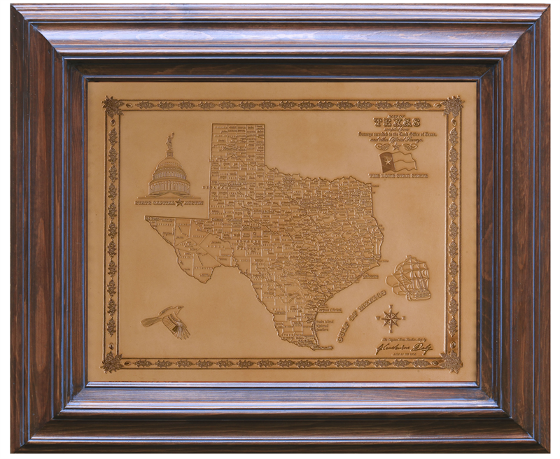 Natural Texas Handmade Leather Map in Solid Wood Frame