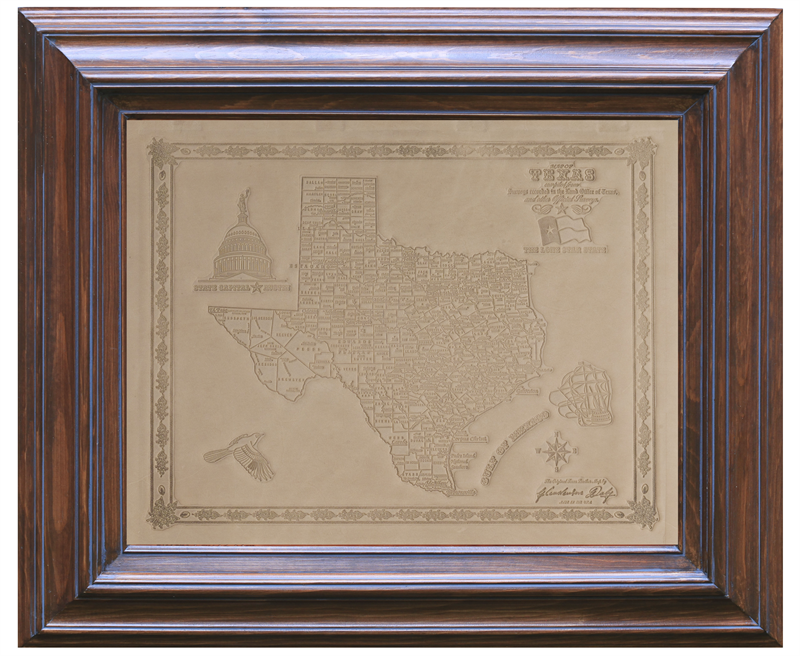 White Sand Texas Handmade Leather Map in Solid Wood Frame