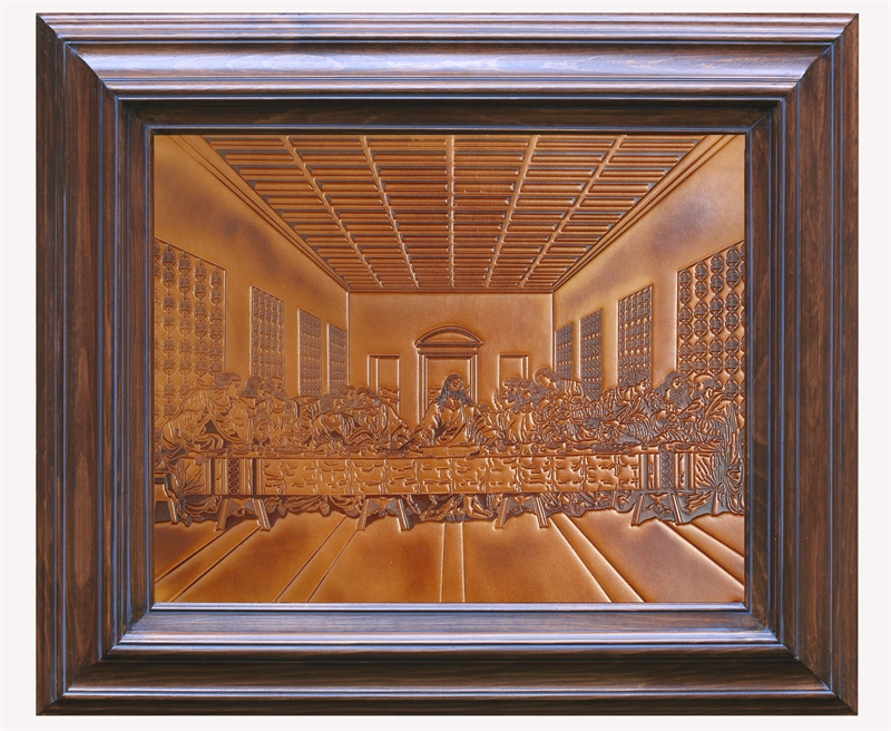 The Last Supper Handmade Leather Embossment in Solid Wood Frame