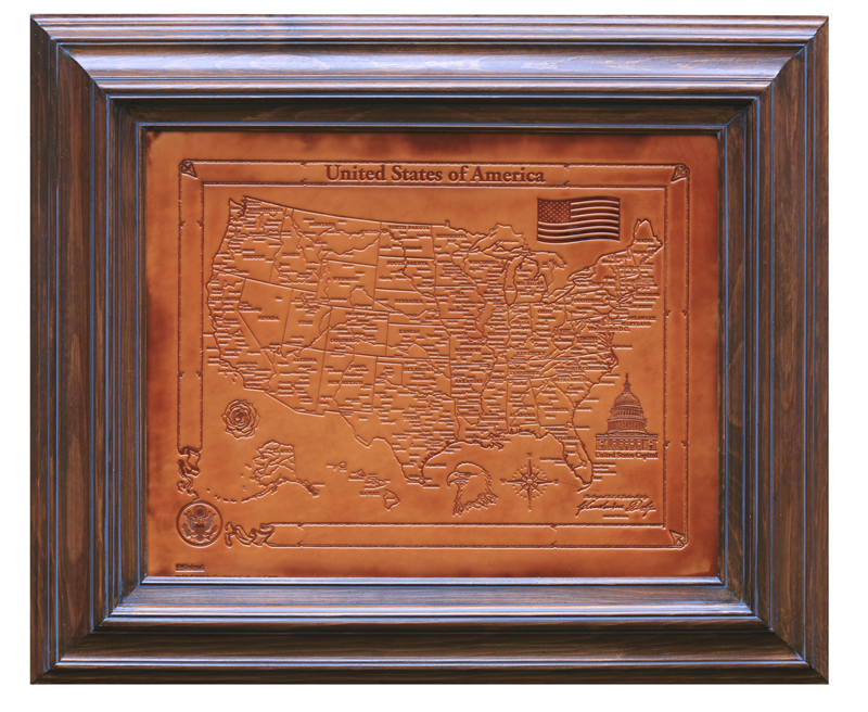 United States Of America Handmade Leather Map In Solid Wood Frame - United states map picture frame