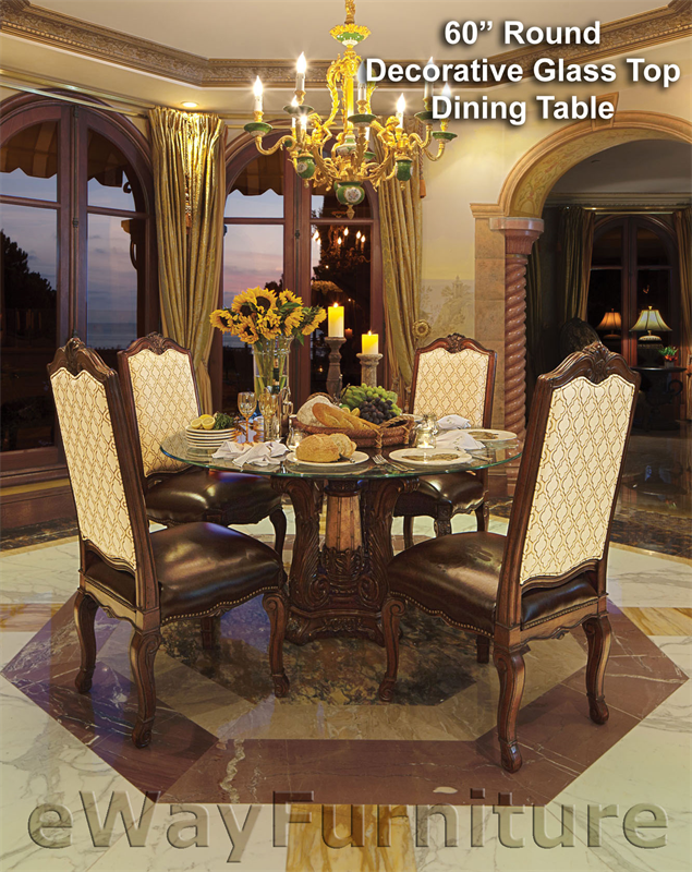 Victoria Palace 60 Quot Round Decorative Glass Top Dining Table