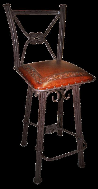 2 Tooled Leather Western Iron Swivel Barstools With Backs