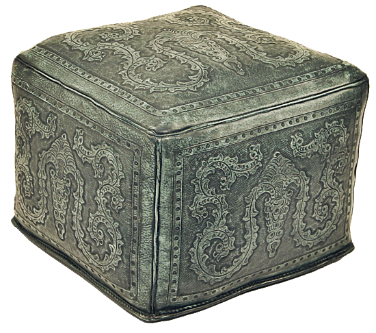 Tooled Leather Large Square Colonial Ottoman In Turquoise