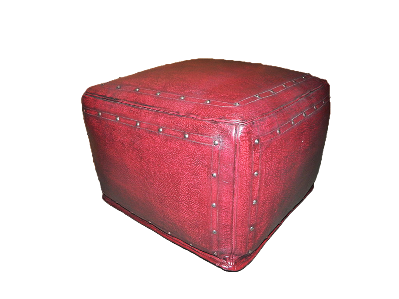 Tooled Leather Large Square Ottoman With Tack Trim In Red
