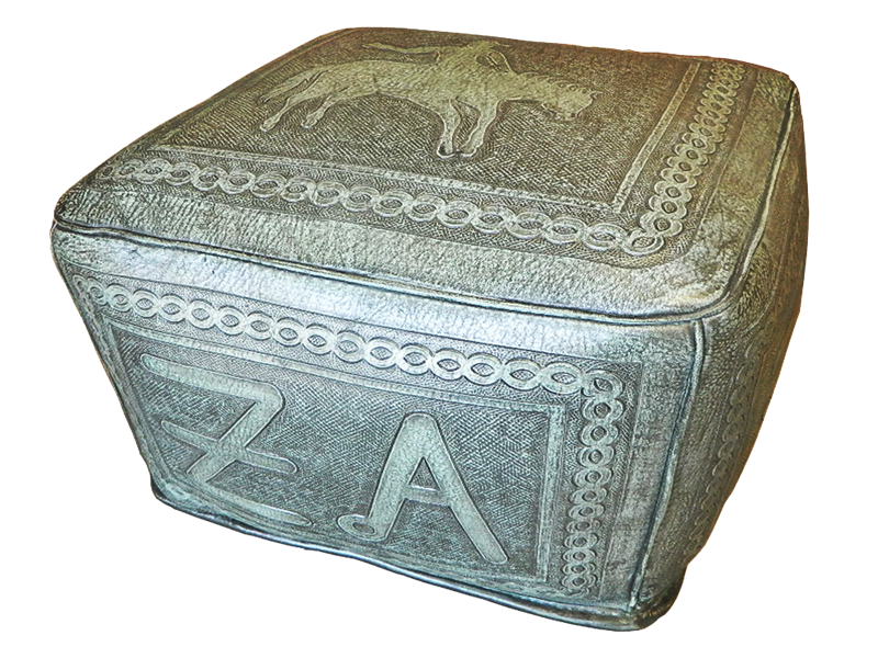 Tooled Leather Large Square Ottoman With Bronco And Brand