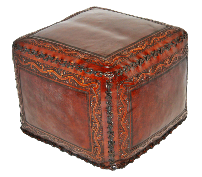 Tooled Leather Large Square Ottoman With Classic Stitch In