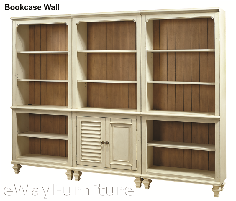 - Cottonwood Farmhouse Antique White Bookcase Wall