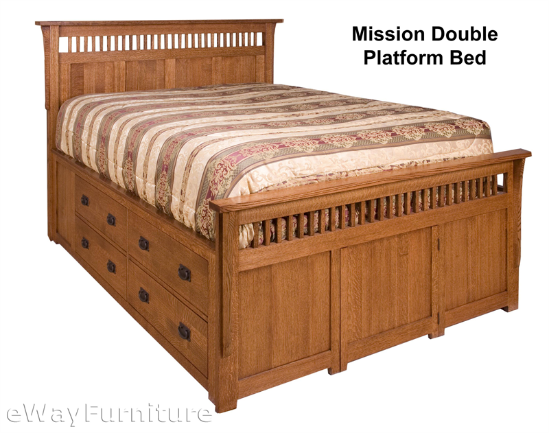 rift and quarter sawn oak mission double platform bed