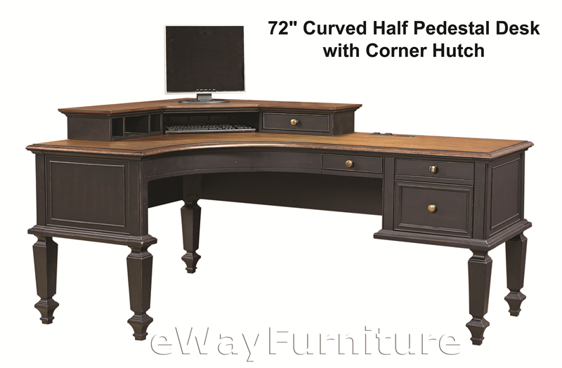 - Salem Antique Black 72 Inch Curve Half Pedestal Desk With Corner Hutch