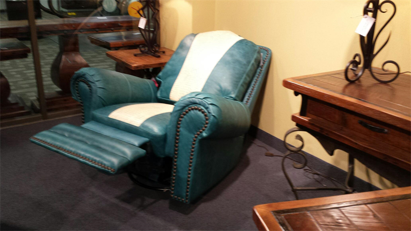 Teal And Ivory Top Grain Leather Glider Swivel Recliner