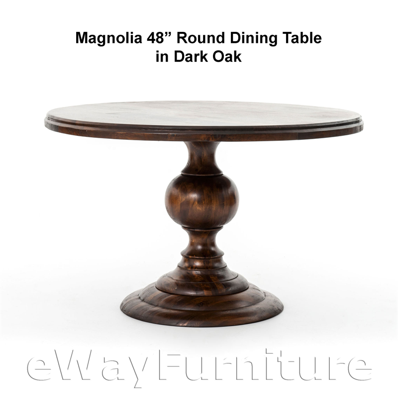 magnolia round 48 inch dining table in dark oak