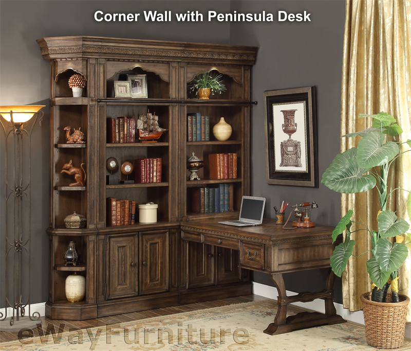 Aspenhome Warm Cherry Executive Modular Home Office: Parker House Aria Corner Library Wall With Peninsula Desk