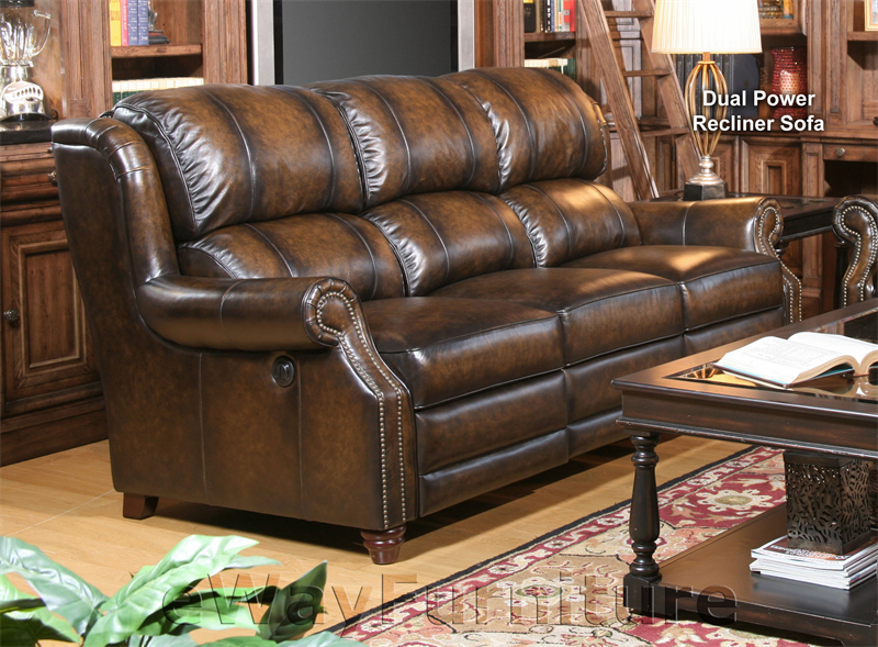 Parker living twain black brown leather dual power recliner sofa for The parkers tv show living room