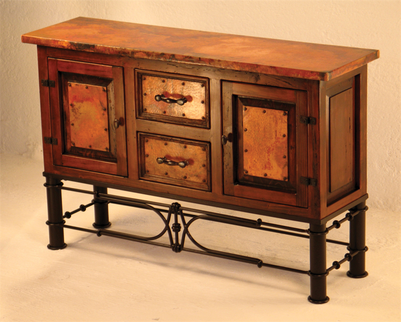 Hand Hammered Copper And Wood Console With Pablo Iron Base