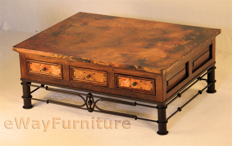 Six Drawer Hand Hammered Copper And Wood Coffee Table With Iron Pablo Base