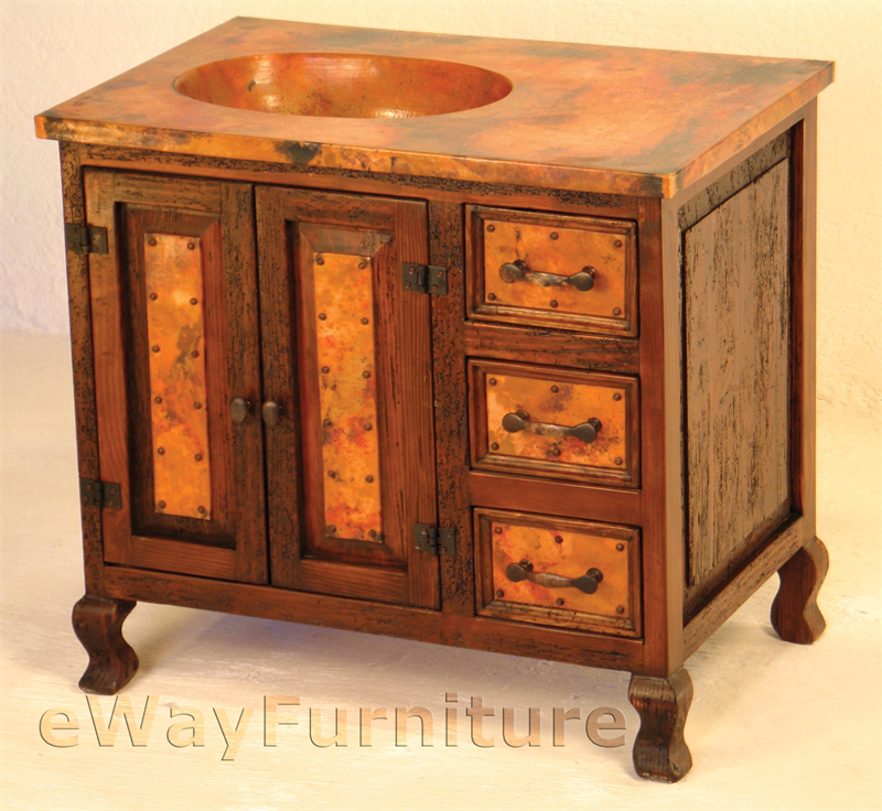 Medium Rustic Sink Cabinet With Hand Hammered Copper Sink