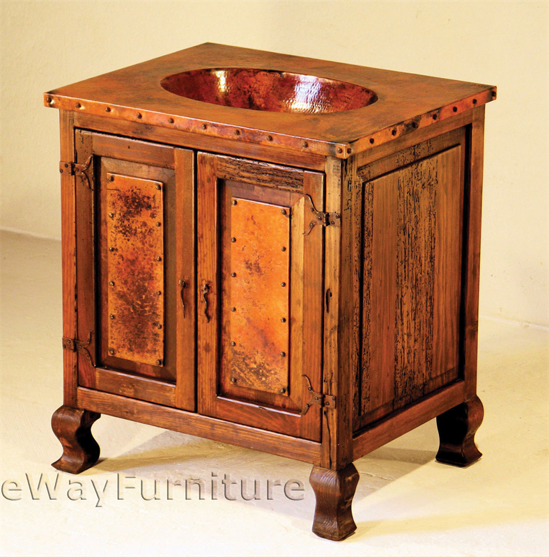Small Rustic Sink Cabinet With Hand Hammered Copper Sink