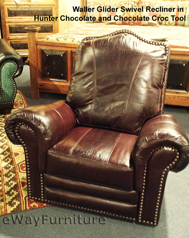 Chocolate And Chocolate Croc Top Grain Leather Recliner