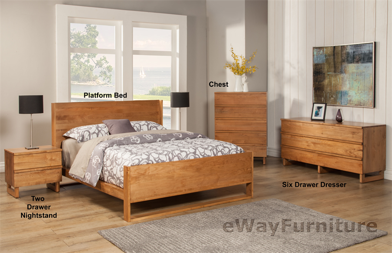 Solid Pacific Coast Maple Modern Bedroom Set