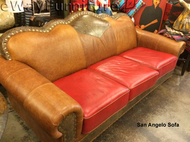 Details about Tooled Handcut 100% Top Grain Leather San Angelo Sofa - Made  in USA