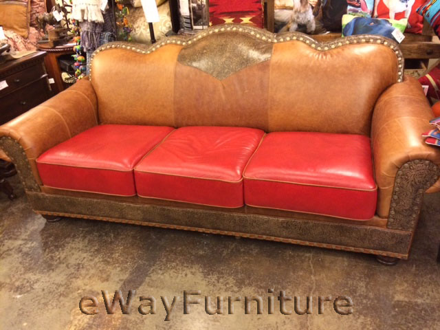 Tooled Top Grain Leather San Angelo Sofa