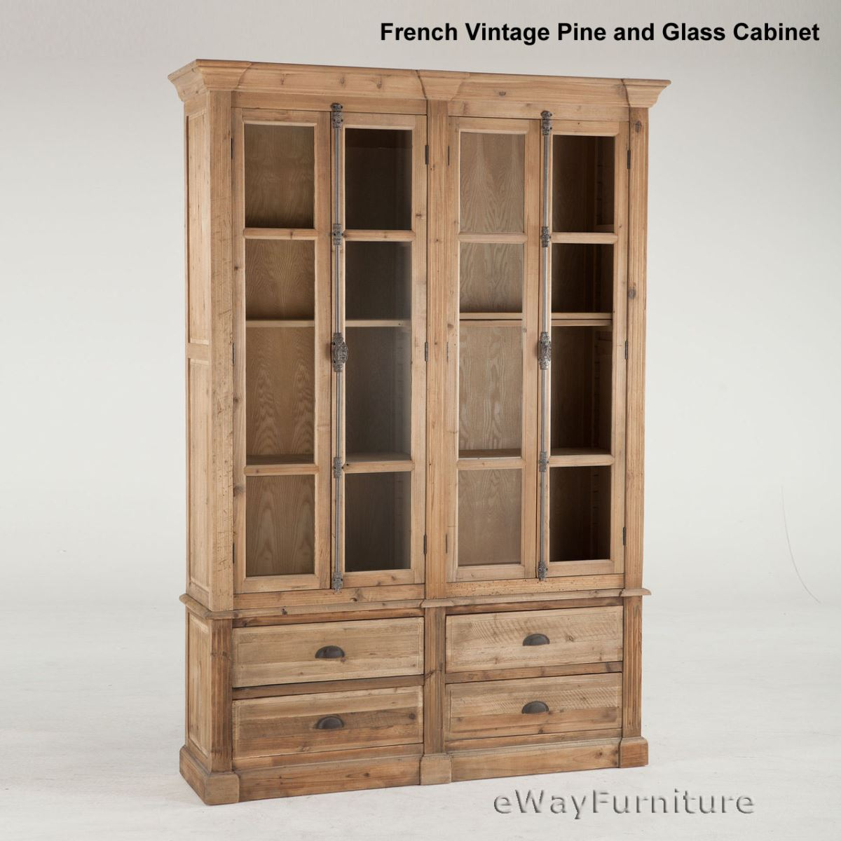 vintage pine and glass curio display cabinet dining room furniture