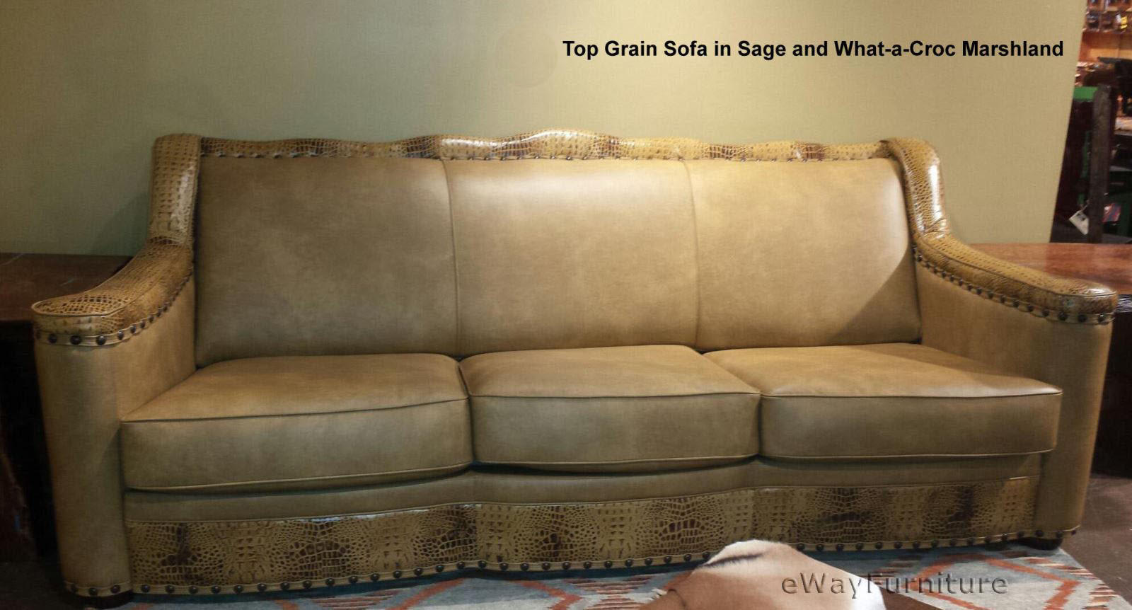 Sage Top Grain Leather Sofa Made In The Usa