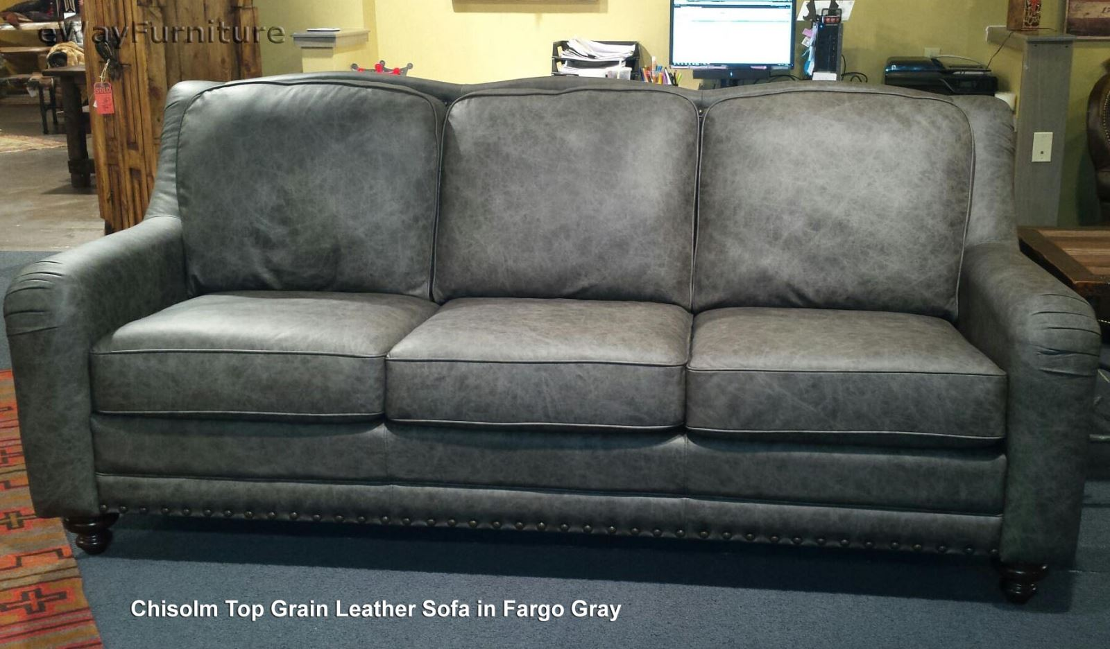 Chisolm top grain leather sofa in fargo gray made in usa Home furniture usa nj