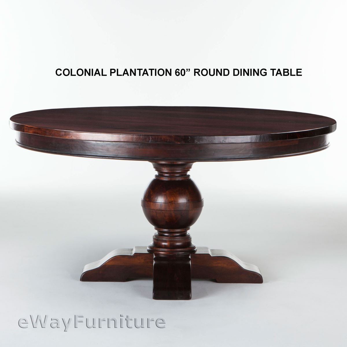Colonial plantation 60 inch round dining room table solid for Solid wood round tables dining