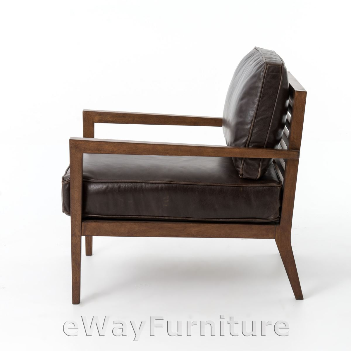 kensington laurent wood frame accent chair dark brown leather. Black Bedroom Furniture Sets. Home Design Ideas