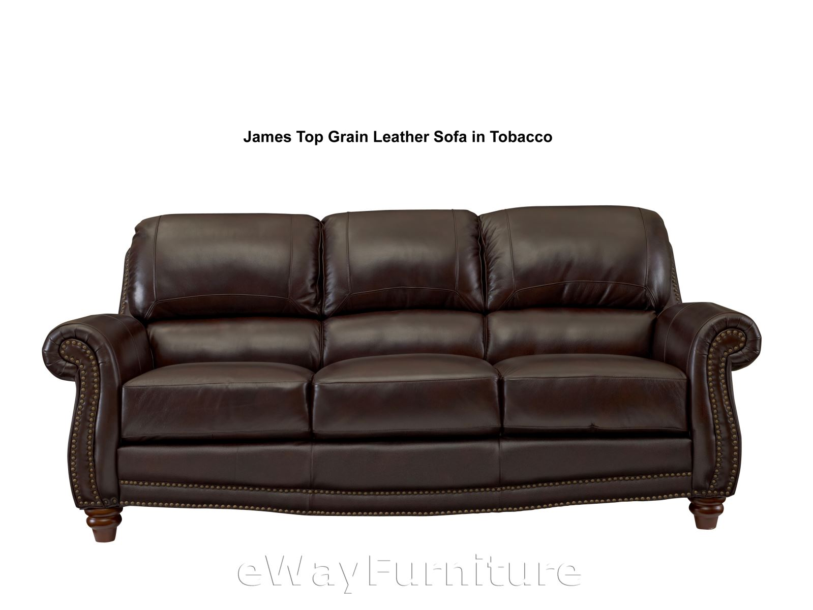 James Top Grain Leather Sofa In Tobacco Lis9922sf