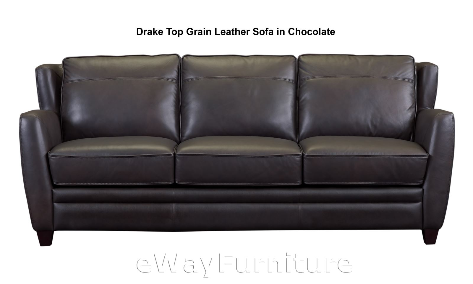 New Drake Dark Brown Top Grain Leather Sofa Top Quality