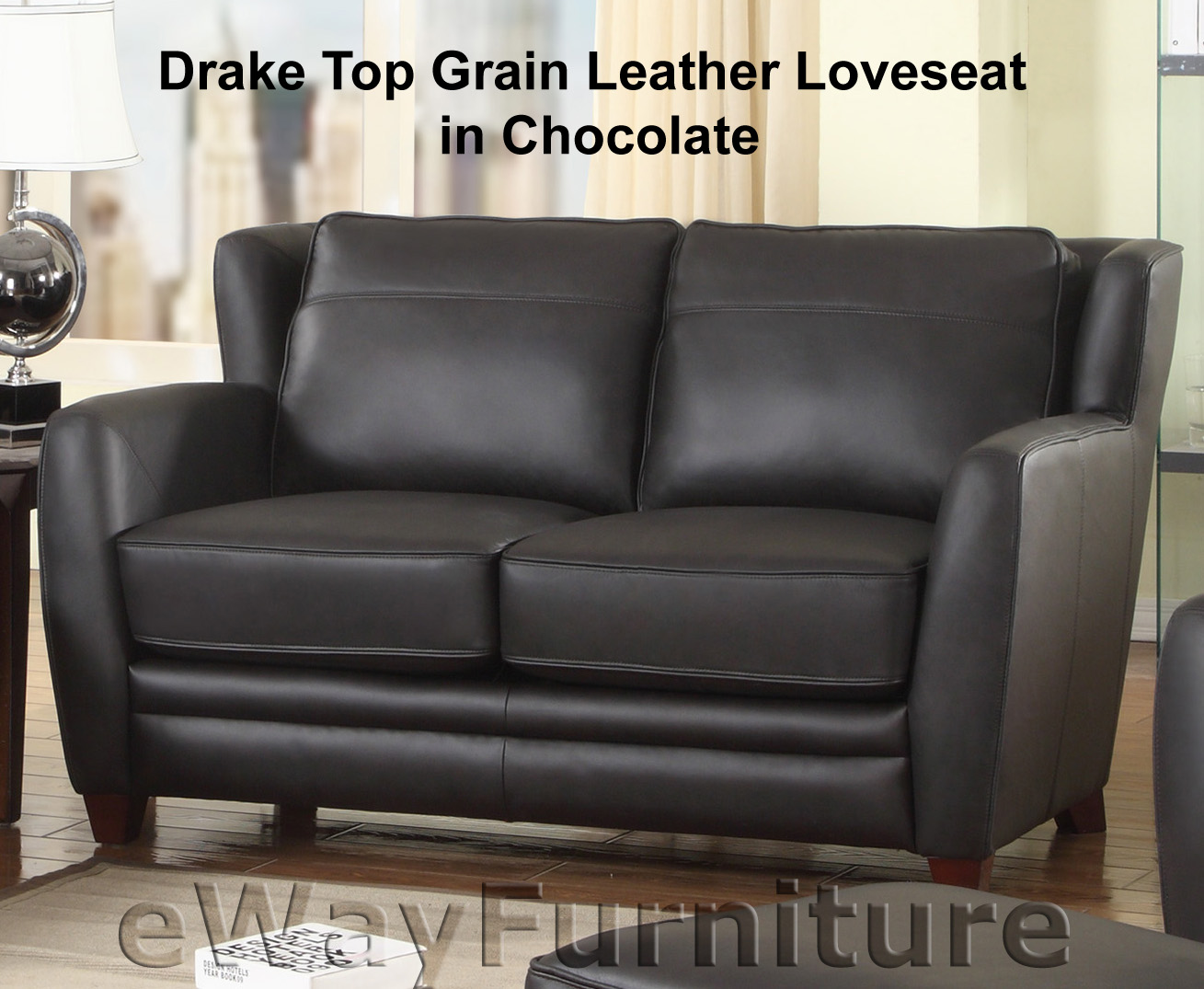 Drake Top Grain Leather Loveseat In Chocolate