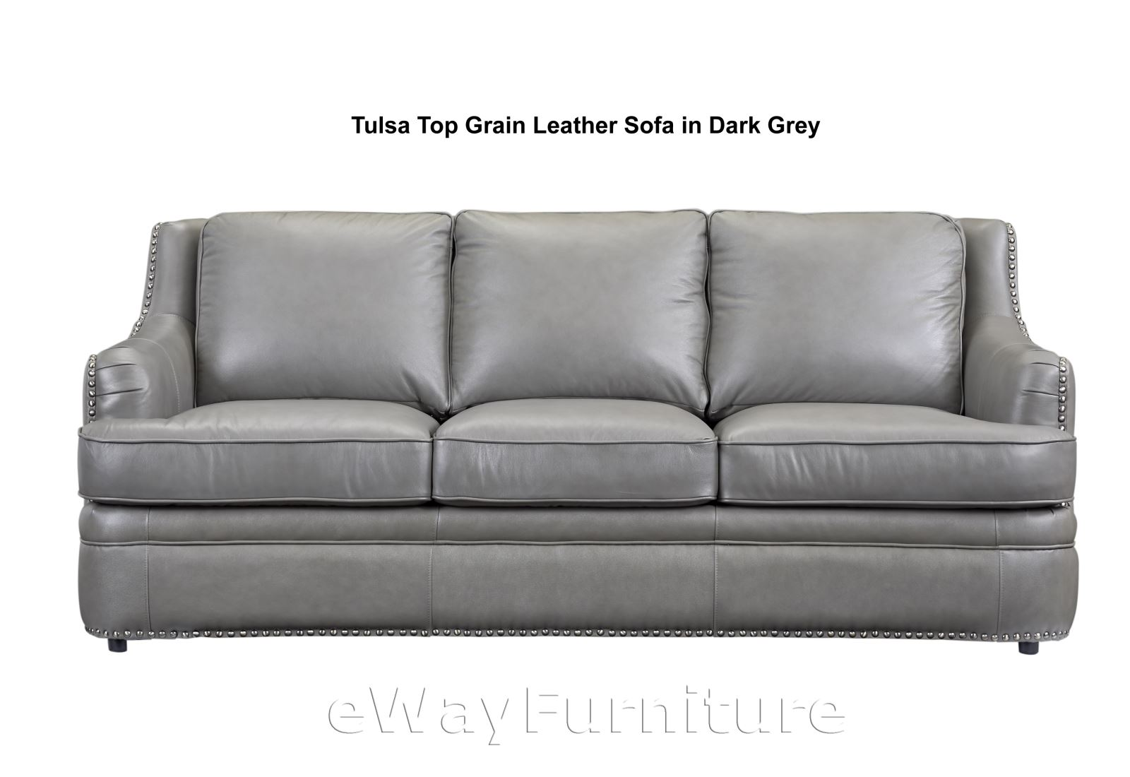 tulsa dark grey top grain leather sofa living room furniture online