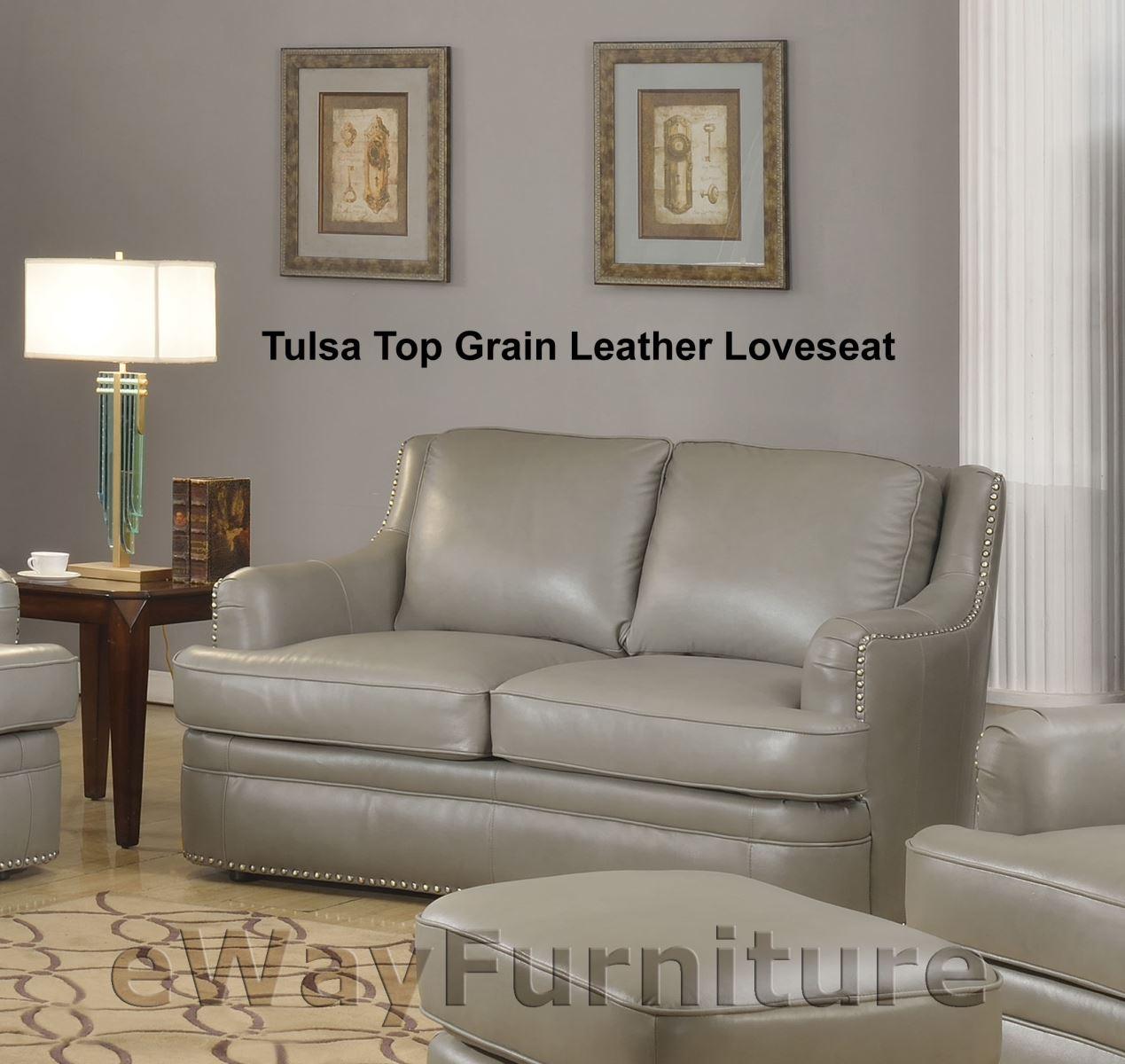 Tulsa Top Grain Leather Loveseat In Dark Grey