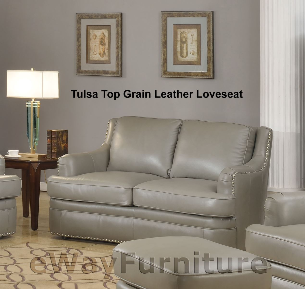 Tulsa Dark Grey Top Grain Leather Loveseat Living Room