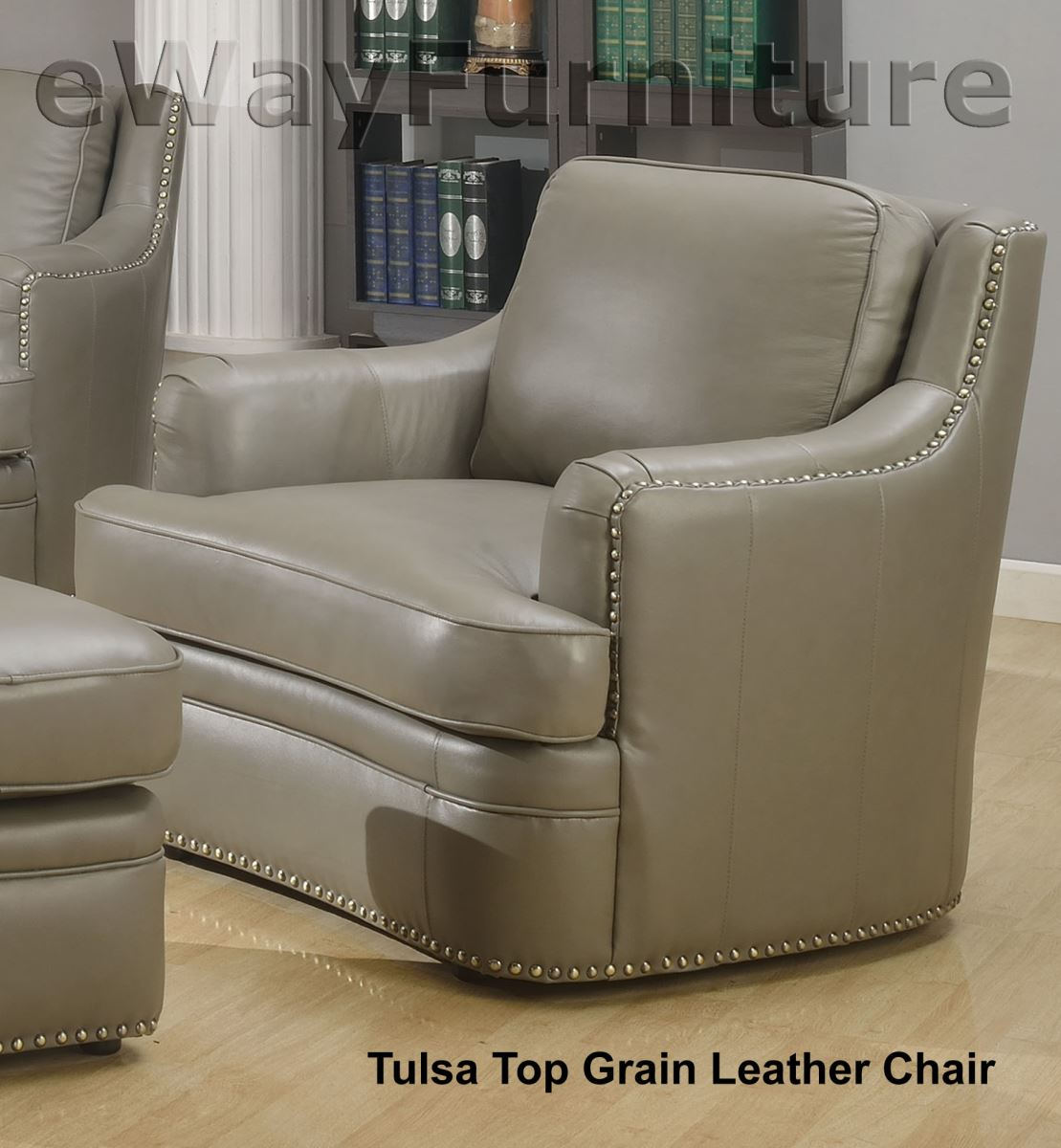 tulsa top grain leather chair in dark grey. Black Bedroom Furniture Sets. Home Design Ideas