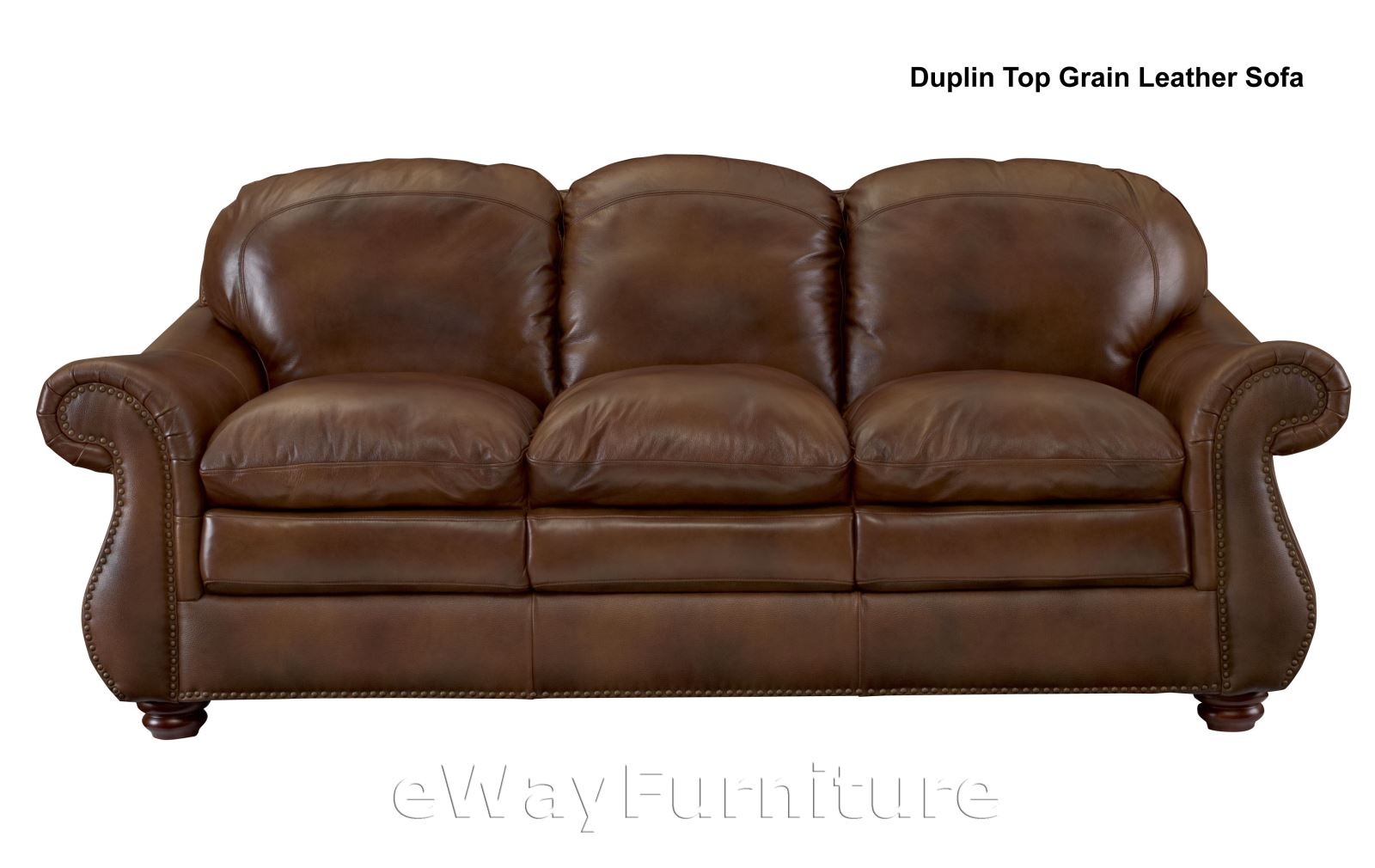 Duplin brown top grain leather sofa hardwood frame top for Best quality furniture