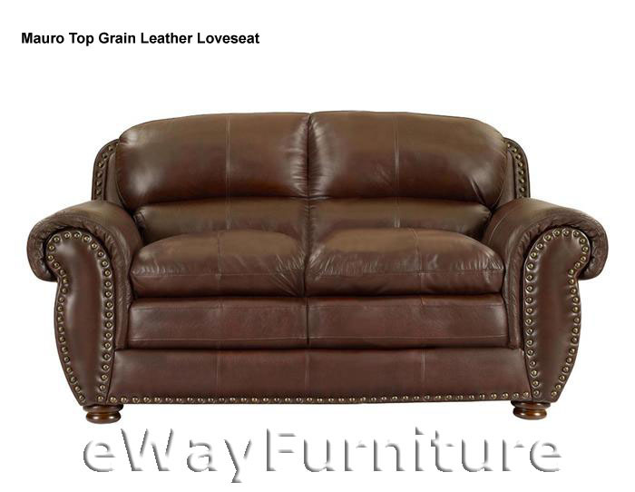 NEW Mauro Brown Top Grain Leather Loveseat Quality Living Room Furniture Onli