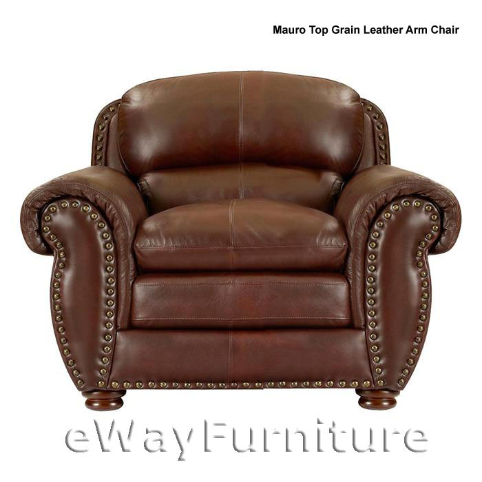 NEW Mauro Brown Top Grain Leather Arm Chair Quality Living Room Furniture Online