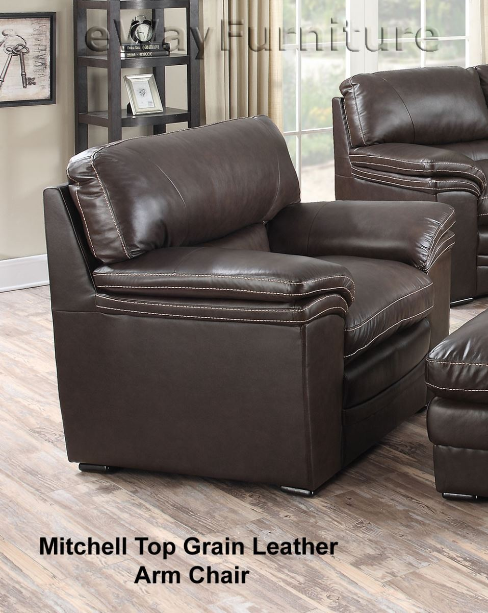 mitchell top grain leather arm chair. Black Bedroom Furniture Sets. Home Design Ideas