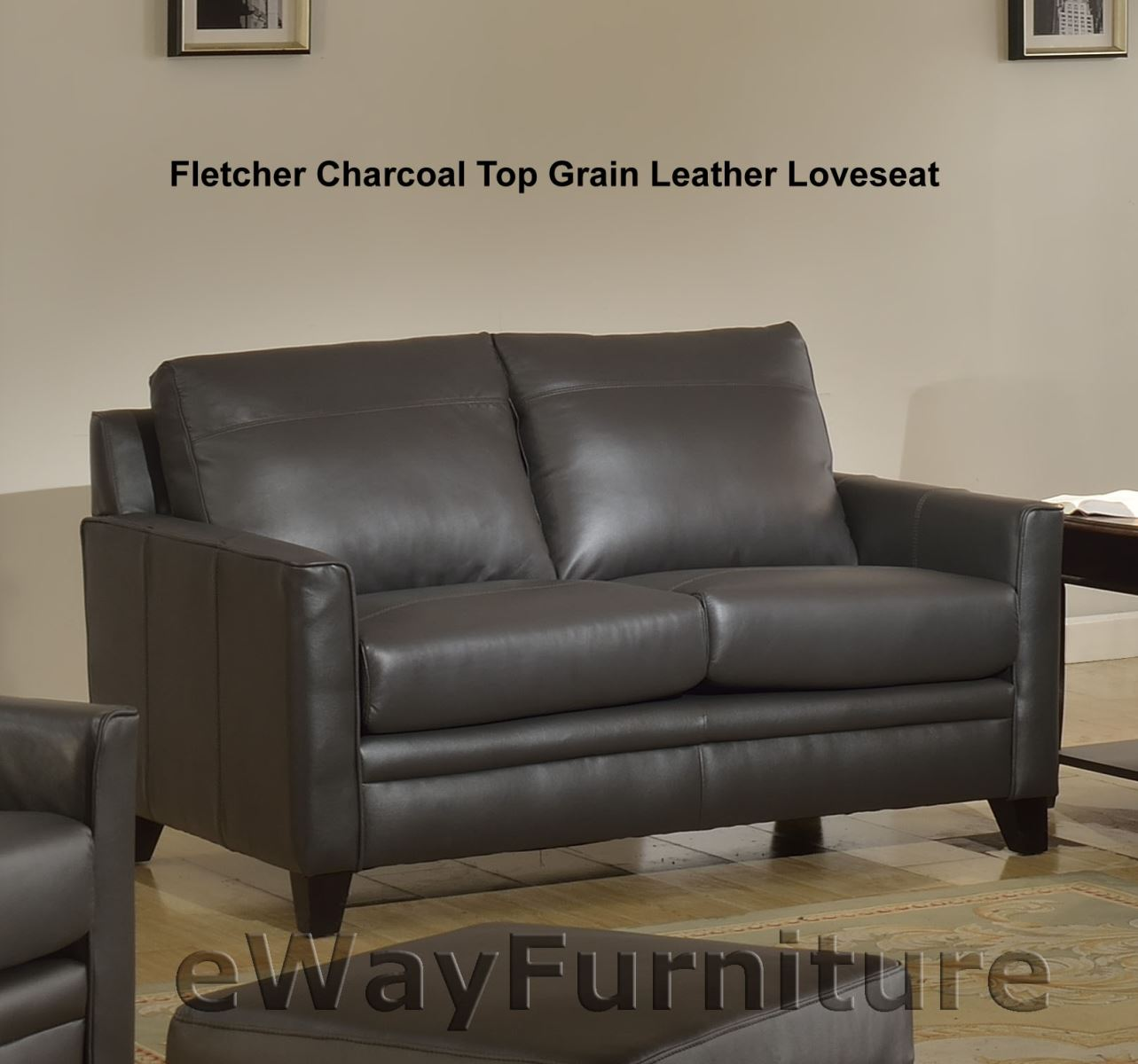 Fletcher Charcoal Top Grain Leather Loveseat
