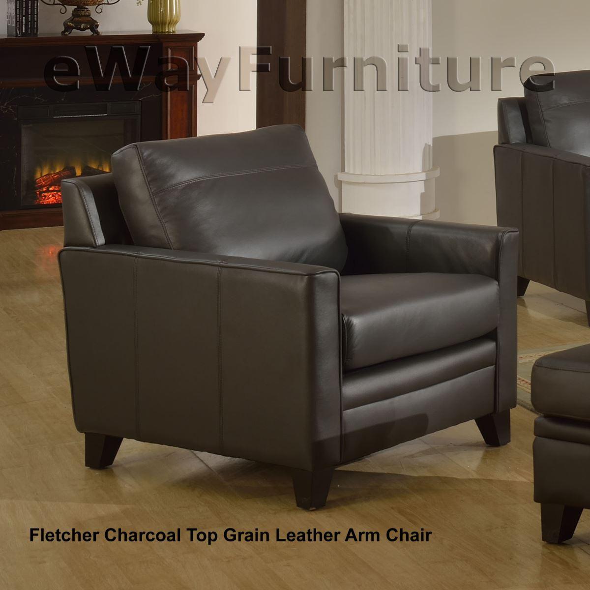 Fletcher Charcoal Top Grain Leather Loveseat