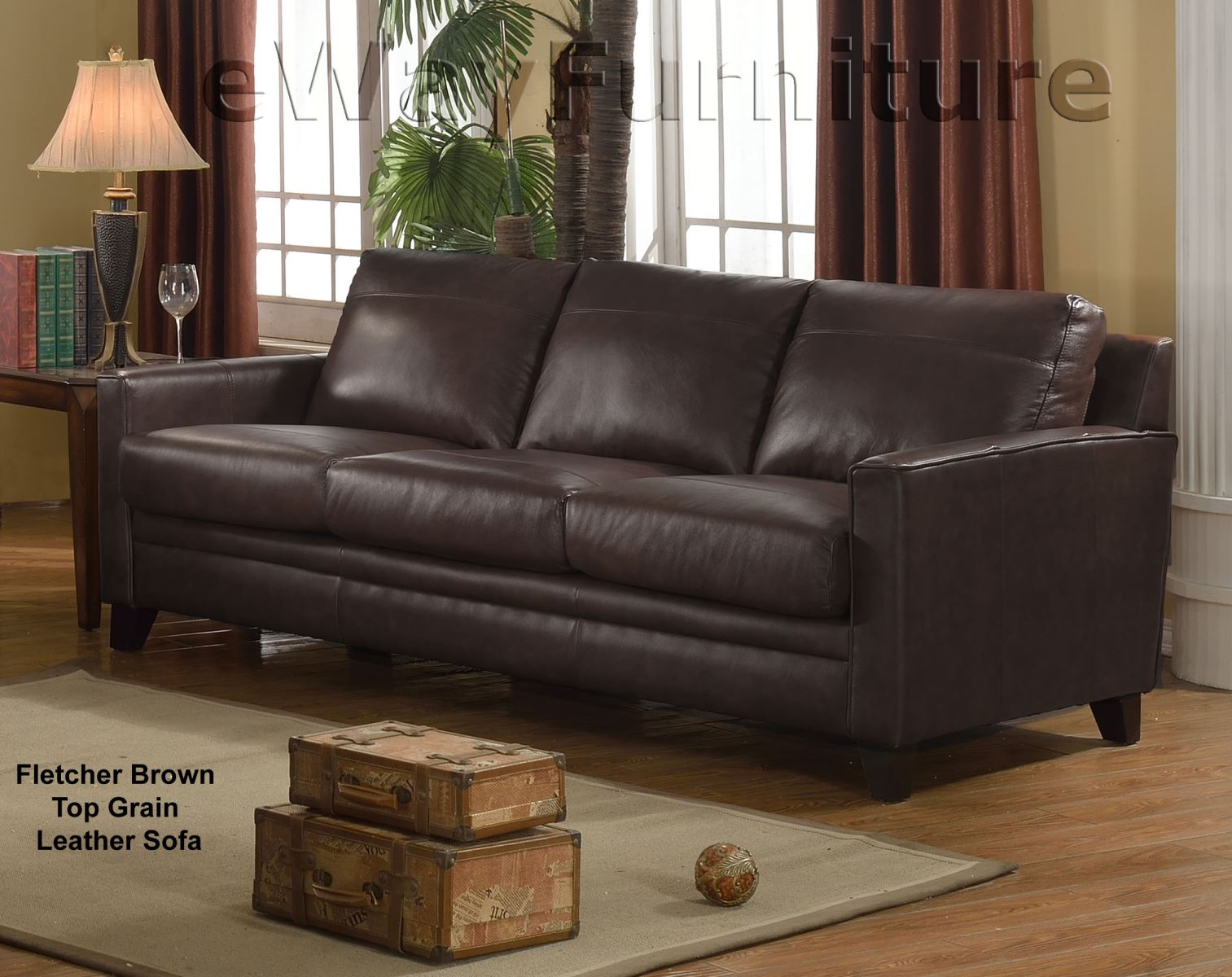 Similar Items. Fletcher Brown Top Grain Leather Loveseat