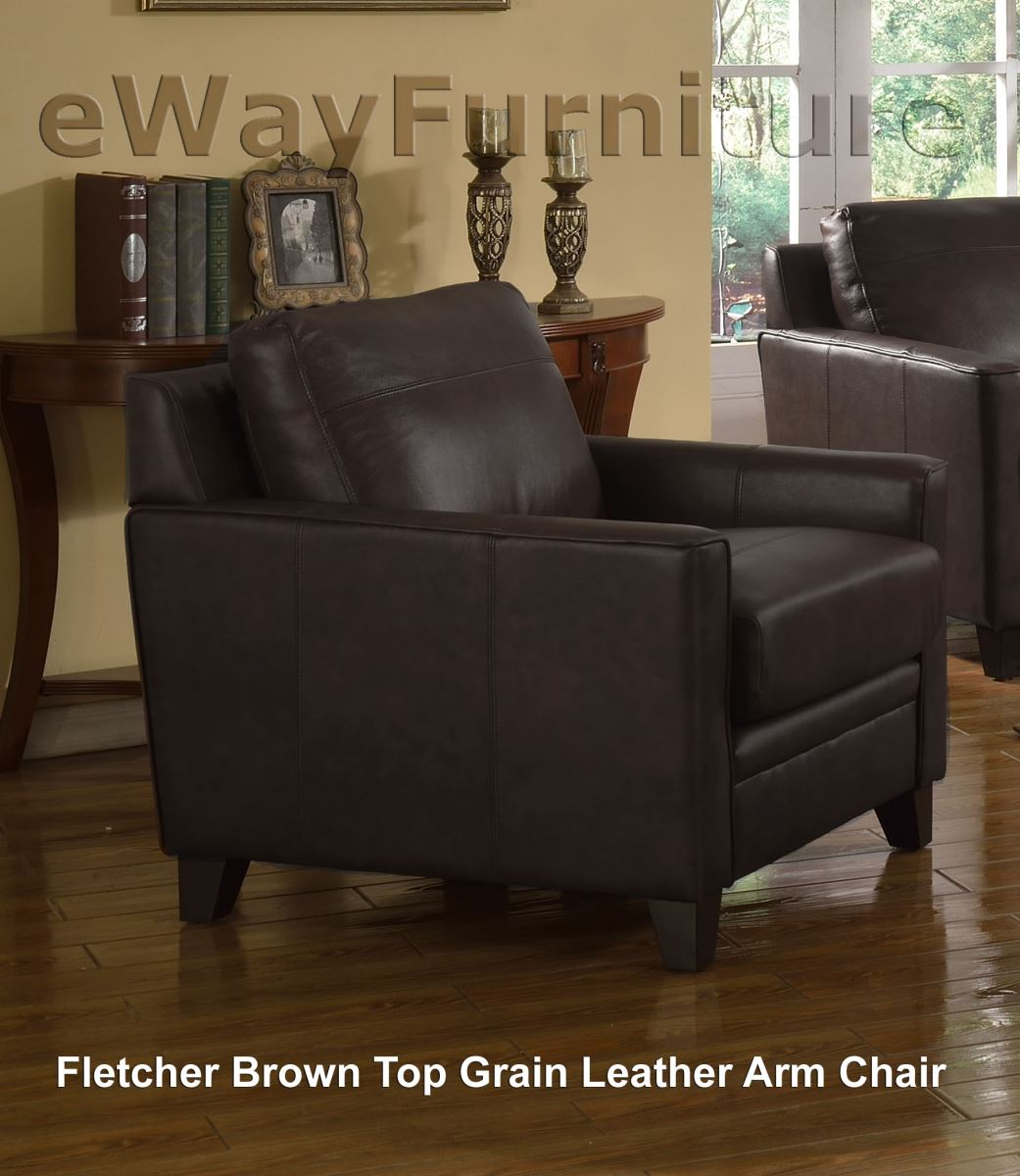 Fletcher Brown Top Grain Leather Sofa