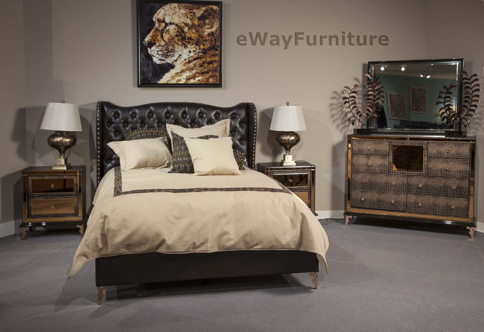 aico ganache hollywood loft queen bed nightstand dresser