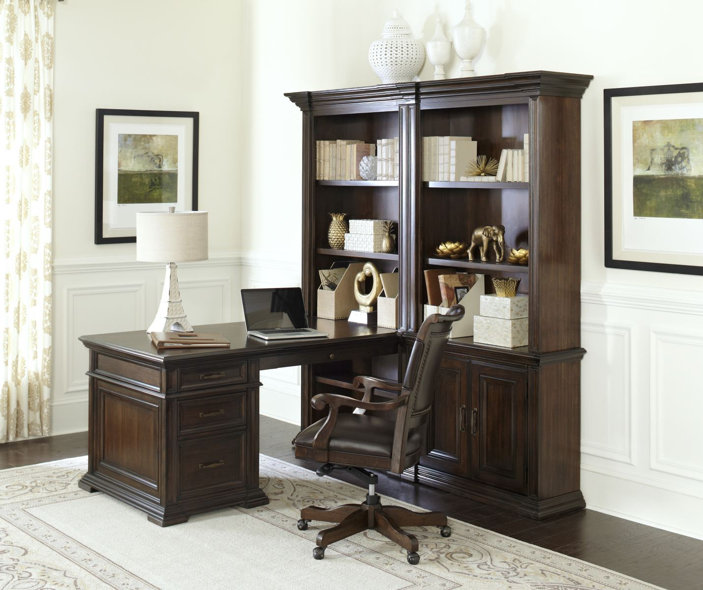 Grand Classic Peninsula Desk With Bookcases Partner Desk Computer