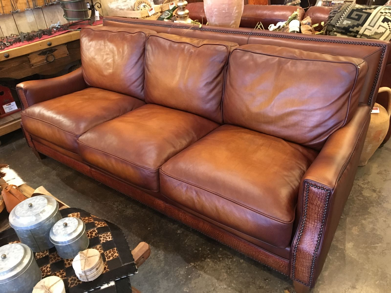 Awesome Fully Custom 100 Top Grain Leather Sofa In Cognac With Croc Gamerscity Chair Design For Home Gamerscityorg