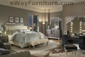 Metallic Graphite Tufted Leather and Crystal Bedroom Set